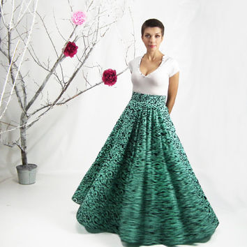 Maxi Skirt, High Waisted Skirt, Circle Skirt, Plus Size Skirt, Long Mint Color Skirt,  Floor Length Skirt, Full Floral Skirt, Chiffon Skirt