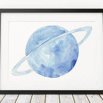 Uranus poster Watercolor print Planet print Space decor ACW716