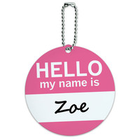 Zoe Hello My Name Is Round ID Card Luggage Tag