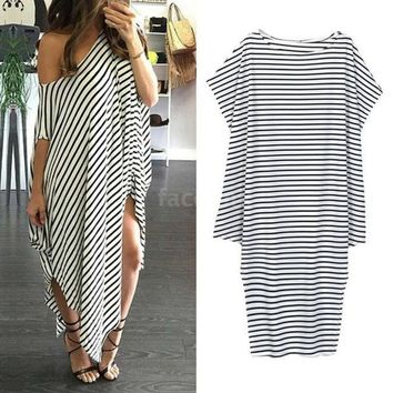 LMFHQ9 New Women Loose Long Dress Striped Batwing Sleeve Off-shoulder Split Asymmetric Casual Dress White