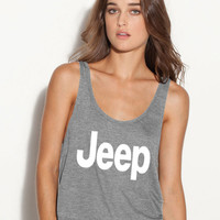Jeep ladies flowy tank top tee