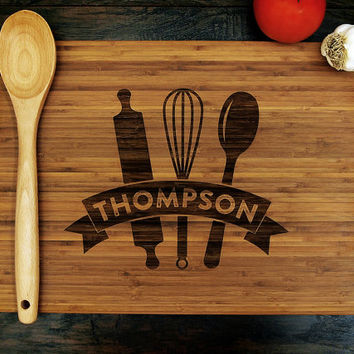 Personalized Cutting Board (Pictured in Amber), approx. 12 x 16 inches, Cooking Utensil Banner - Wedding gift, Housewarming gift, Chef Gift