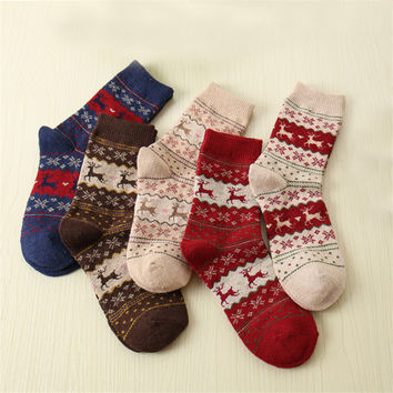 Christmas Deer Knit Wool Multicolor Animal Socks