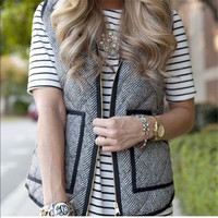 Autumn&Winter Womens Outerwear Real Photo Designer Inspired Cotton Textured Herringbone Quilted Puffer Vest +Free Christmas Gift Gold Necklace