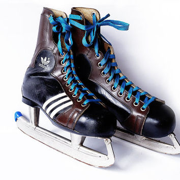ADIDAS Ice Skates Boots Skating Mens Shoes Uk 7.5 Eu 41 Us 9.5 Three Stripes Stainless Steel Made In Yugoslavia Soviet 70s Vintage Retro