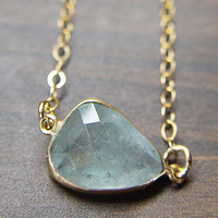 Blue Aquamarine Necklace 14k gold OOAK by friedasophie on Etsy