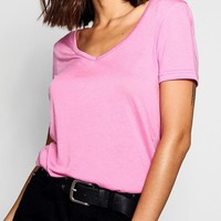 Ruby Supersoft V Neck Tee | Boohoo