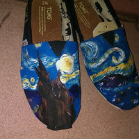 Starry Night hand painted TOMS