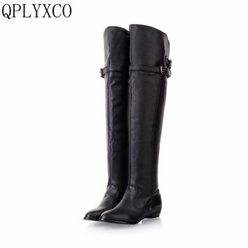 QPLYXCO 2017 New Big size 34-45 women flat boots over knee winter warm long round toe fashion botas footwear shoes 181