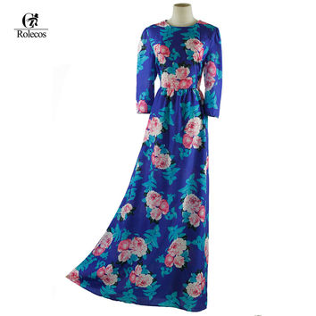 Women Blue Floral Print  Floor Length Long Bohemia Dress Floral