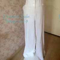 Sale Plus Size  White Wide Leg Pants - White Linen Pants -Loose Pants - Oversized Pants Trousers - Pants for women - Summer Pants