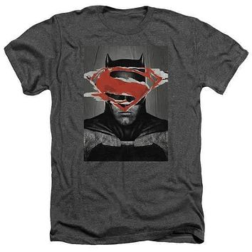 Batman vs. Superman Batman Poster Charcoal Heather Adult T-Shirt
