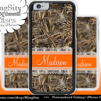 Camo Orange Monogram iPhone 5C 6 Case Plus Lace iPhone 5s 4 case Ipod Hunting Realtree Custom Name Personalized Country Inspired Girl