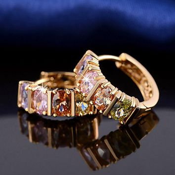 Women Jewels Multi-color Cubic Zircon Small Hoop Huggie Earring Rose Gold Plated