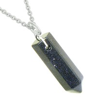 Amulet Lucky Crystal Point Spiritual Protection Powers Wand Charm Blue Goldstone Pendant 22 inch Necklace