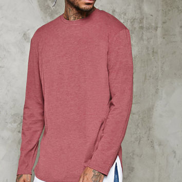 Long-Sleeve Heathered Knit Tee