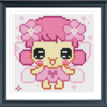 Fairy Girl Cross Stitch Pattern,  Girl Cross Stitch, Cute Cross Stitch pPattern, Cross Stitch Chart, pdf Pattern, Easy Cross Stitch