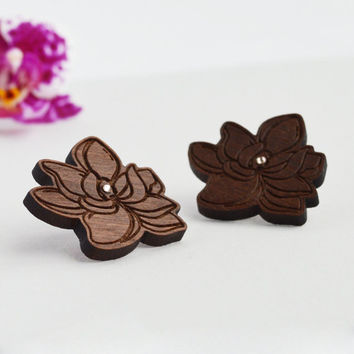 Flower Earrings in Wood, Magnolia Flower Earrings in Walnut Wood with Clear Swarovski Crystal on Silver Plated Stud
