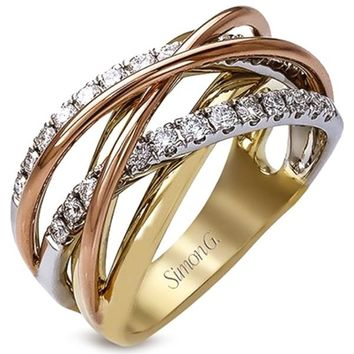 "Simon G. 18K Tri-Color Gold Diamond Fashion ""Wave"" Ring"