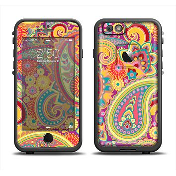 The Neon Orange Paisley Pattern Apple iPhone 6 LifeProof Fre Case Skin Set