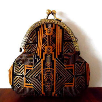 Art deco print purse. black. tan. metallic. gold. geometric print. cream. lined. handmade. gift. bronze tone. wallet. small clasp coin purse