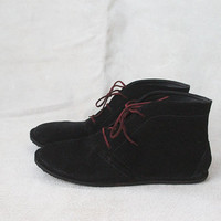 Leona in Black Suede  Handmade Leather flat by TheDrifterLeather