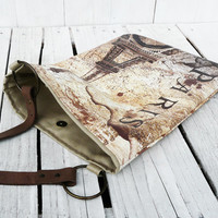 Rustic tote bag Screenprint Paris Eiffel Tower / Daybag / Messenger bag / shopping bag with Leather strap
