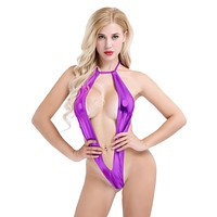 Extreme Micro Metallic Purple Deep Plunge Slingshot Thong G-String Monokini One Piece Swimsuit