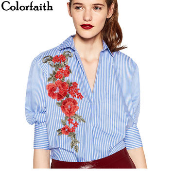 Women Long Blouses 2017 Fashion Casual Sexy V-Neck Striped Buttons Embroidery Floral Ladies Elegant Tops Blusa Feminina BL111