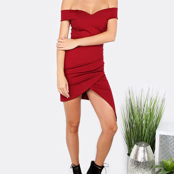 Red Off Shoulder Ruched Asymmetrical Dress