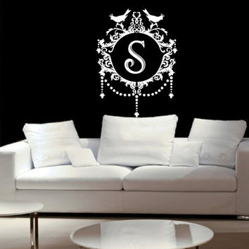 "Monogram Ornate Baroque Damask Vinyl Wall Decal - Wall Decal Frame 2 22""W x30""H 22255"