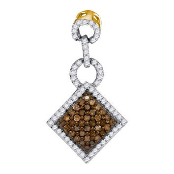 Cognac Diamond Micro-pave Pendant in 14k Gold 0.33 ctw