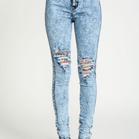 Distressed Acid High Waist Jeans