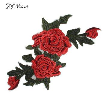 VONE059 New 3D Flower Patch Clothing Accessories Red Flowers Embroidery Applique Decoration Accessories Hotfix Jean Patches