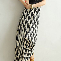 Black Geometric Pattern Maxi Summer Dress
