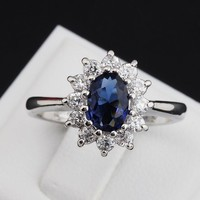 Princess Kate Blue Gem Created Blue Crystal Silver ring