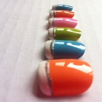 Colorful french tip fake nails from Canvas and Paper Pieces