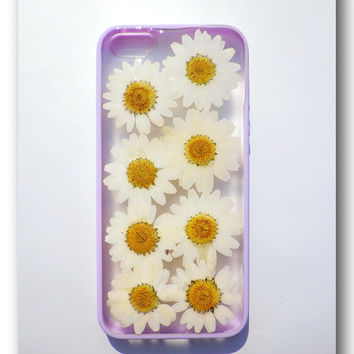 Handmade iPhone 5 case, Resin with Real Flowers, Purple (Matte)