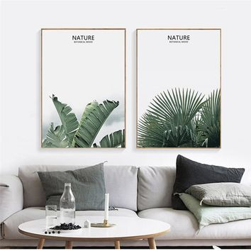 SURE LIFE Nordic Nature Tropical Green Leaf Canvas Pictures Paintings Poster Print Wall Art Living Room Bedroom Home Decor
