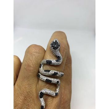 Start Your Holiday Shopping!!! Vintage 1970's Sterling Silver adjustable Crystal Snake Ring