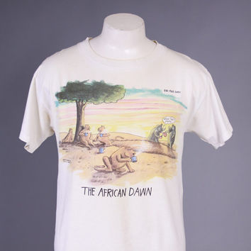 80s The FAR SIDE T-SHIRT / 1980s The African Dawn Gary Larson Tee M - L