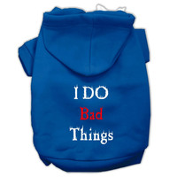 I Do Bad Things Screen Print Pet Hoodies Blue XS (8)