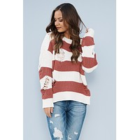 Vail Snow Distressed Sweater (Beige/Red Brick)