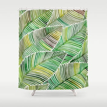 tropical green shower curtain by cat coquillette