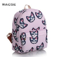 Cats Stylish Travel Korean Pink Fashion Casual Backpack = 4888020932