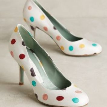 Paola d'Arcano Dotted Pumps in White Polka Dot Size: