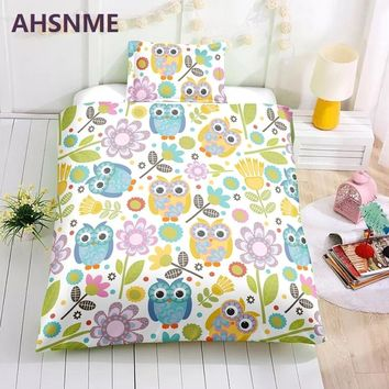 AHSNME Special Promotion! ! ! Children's Cartoon Bedding Set Owl and Flowers Sweet Kids Room Quilt Cover Home Textiles