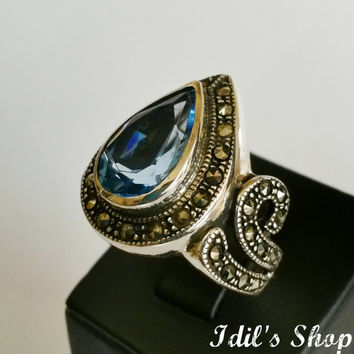 Authentic Turkish Ottoman Style Handmade 925 Sterling Silver Ring With Marcasite & Topaz Stones.