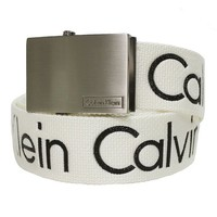Calvin Klein Men's Adjustable Signature Cotton Belt-White-Medium
