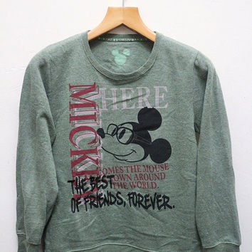 15% SALES Vintage MICKEY MOUSE The Best Of Friends Forever Pullover Sweater Sweatshirt Green L